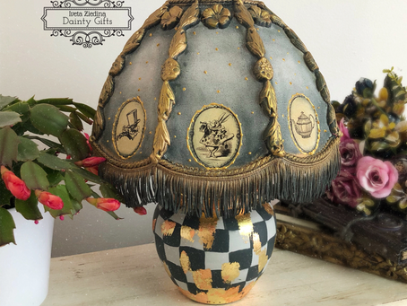 Decoupaged, Up-Cycled Table Lamp