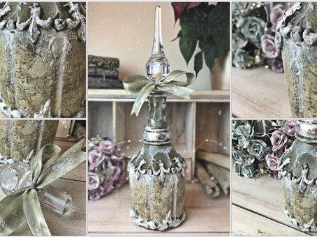 Decoupage on Glass Bottle using Rice Paper