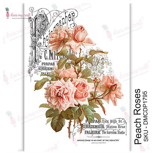 Peach Roses - Transfer Me by Dress My Craft