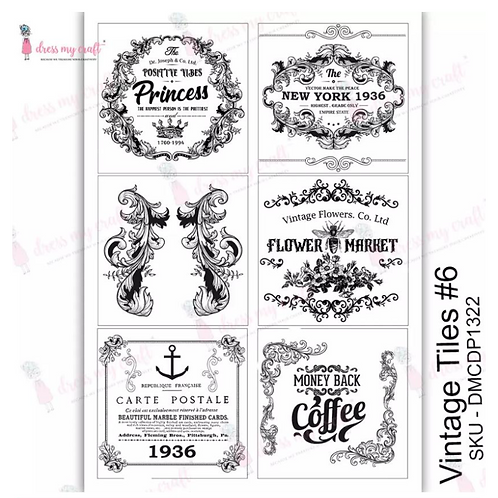 Vintage Tiles No 6  - Transfer Me by Dress My Craft
