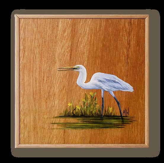 Egret of Elegance Original Oil Painting