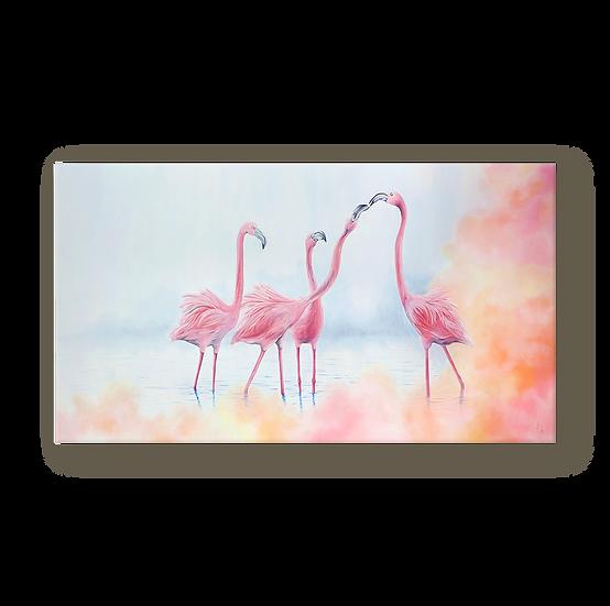Pink Flamingos Original Oil Painting