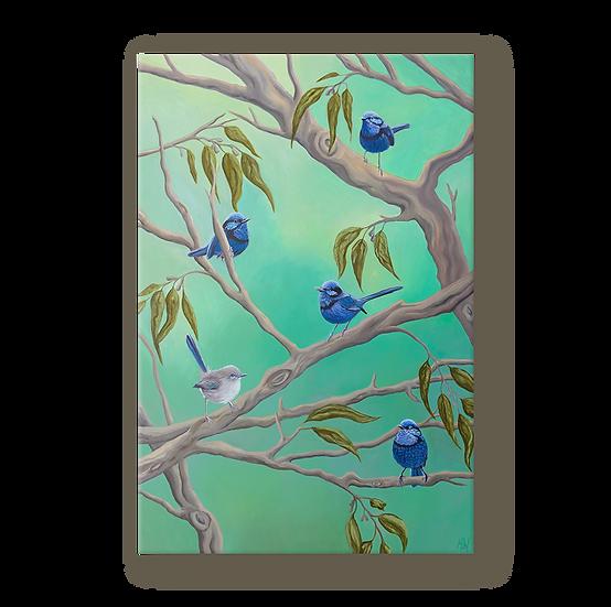 Blue Wrens Original Oil Painting