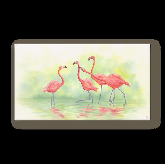 Pink Flamingos II Original Oil Painting