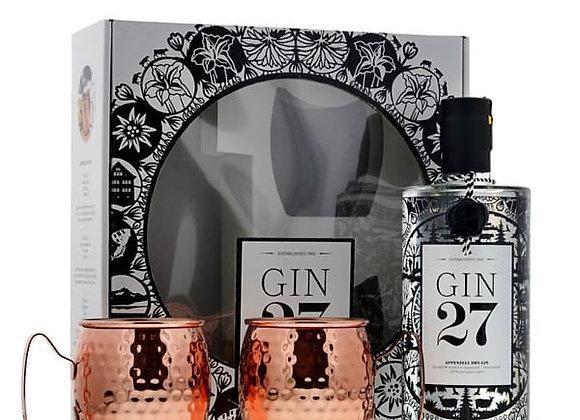 Gin 27 Ensemble avec deux Tasses en Cuivre 43% 70cl