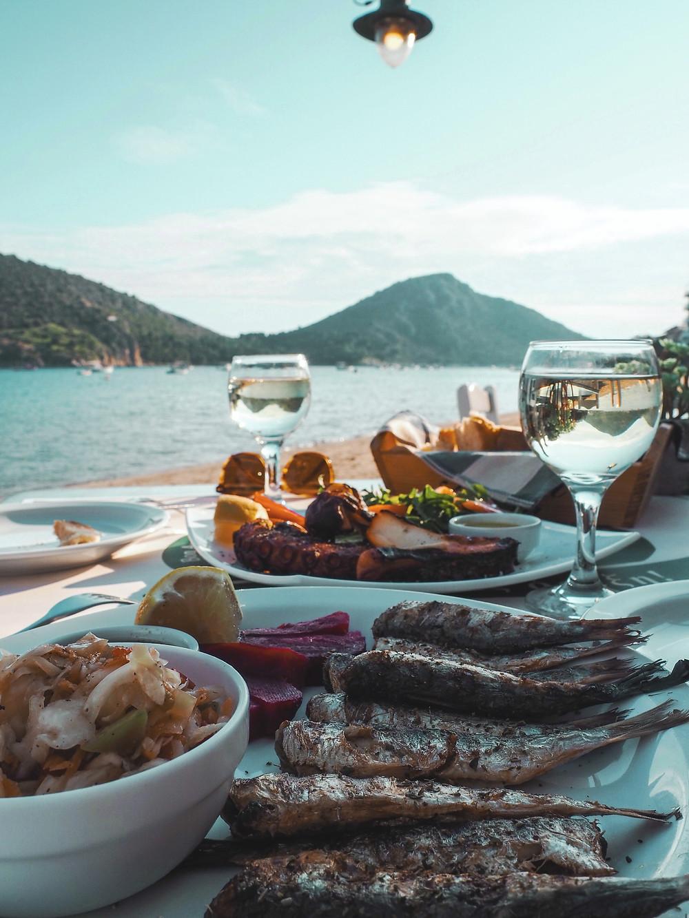playa, pescado, sardinas, pulpo, calma, relax, felicidad, mar, Grecia, vacaciones