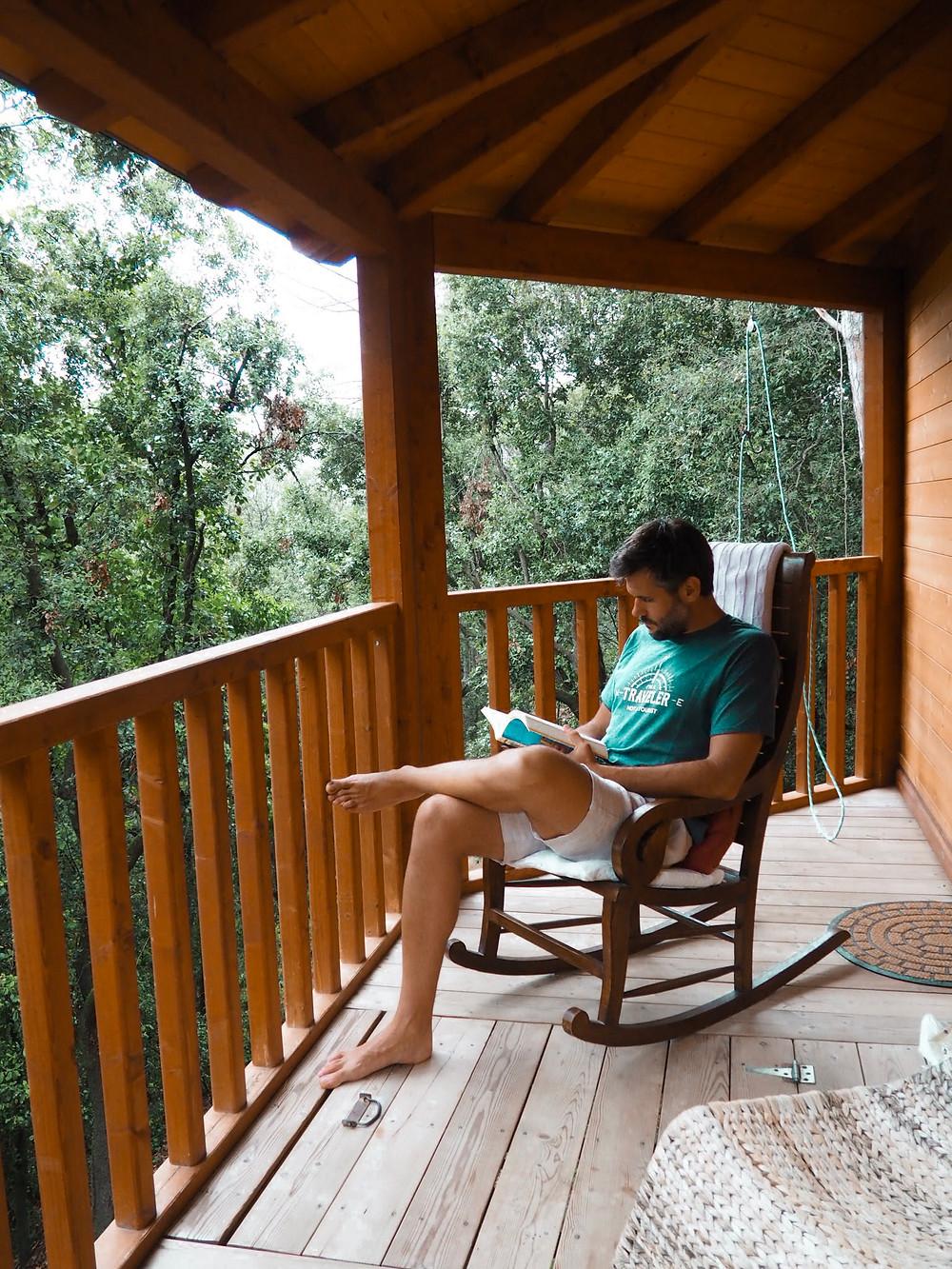 relax, reading, lectura, leet, terraza, cabaña