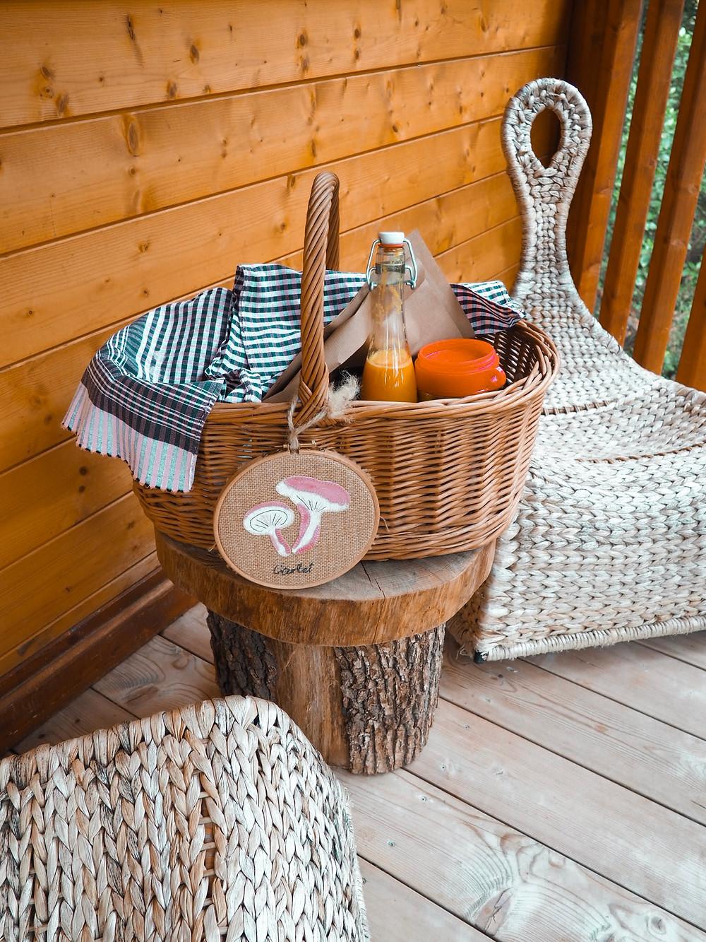 cesta, desayuno, café, zumo, naturaleza, handmade