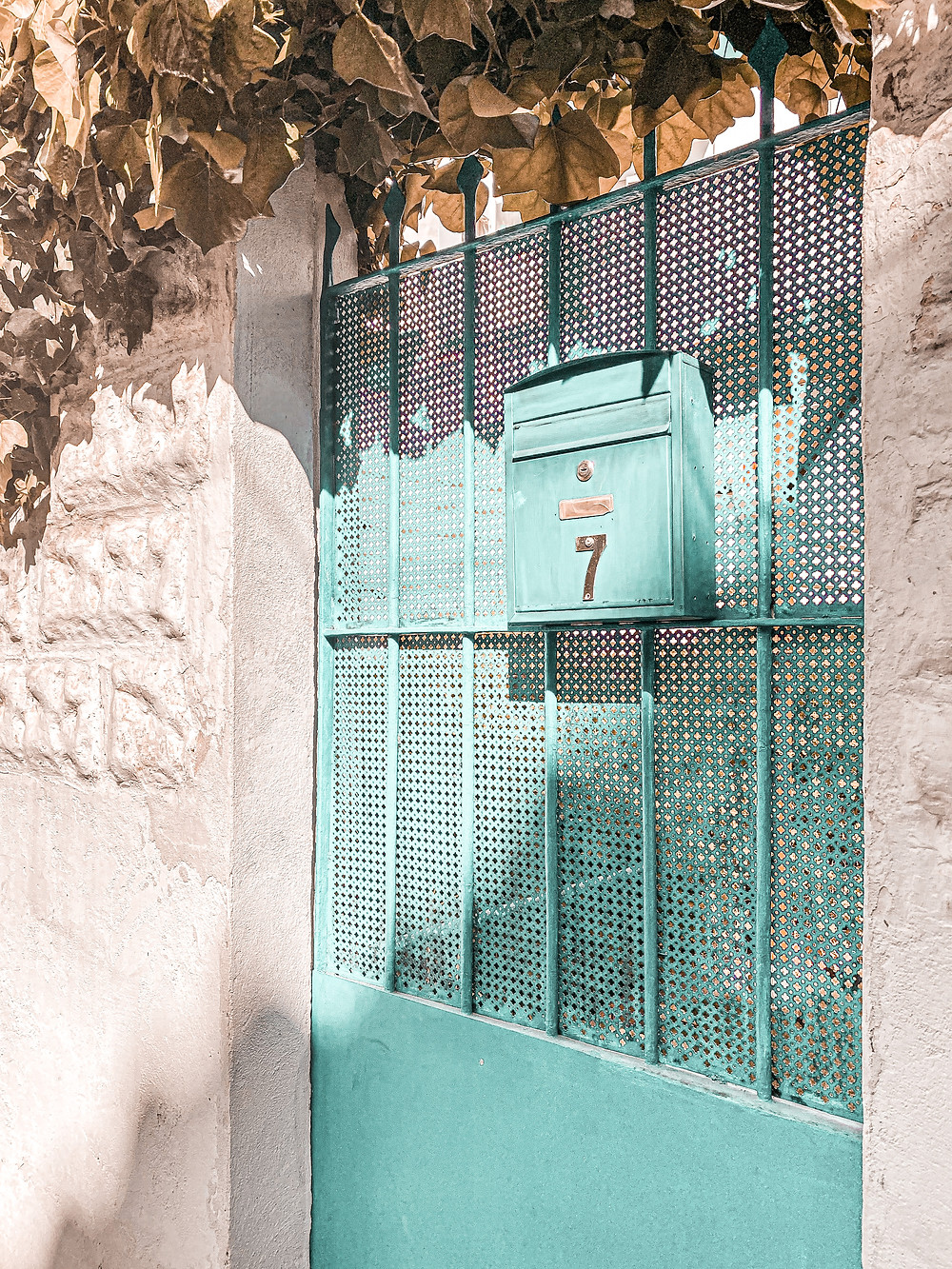 puerta, azul, buzón, vintage, pueblos bonitos, Sitges