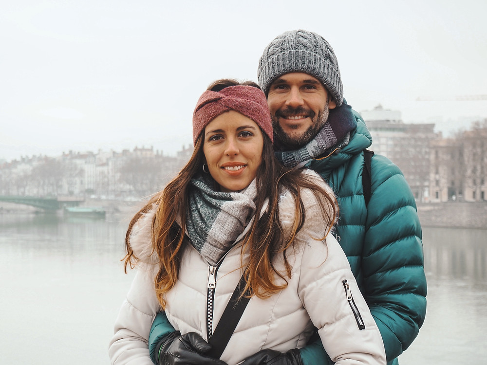 Lyon, frío, puente, pareja, amor, diciembre, Navidad