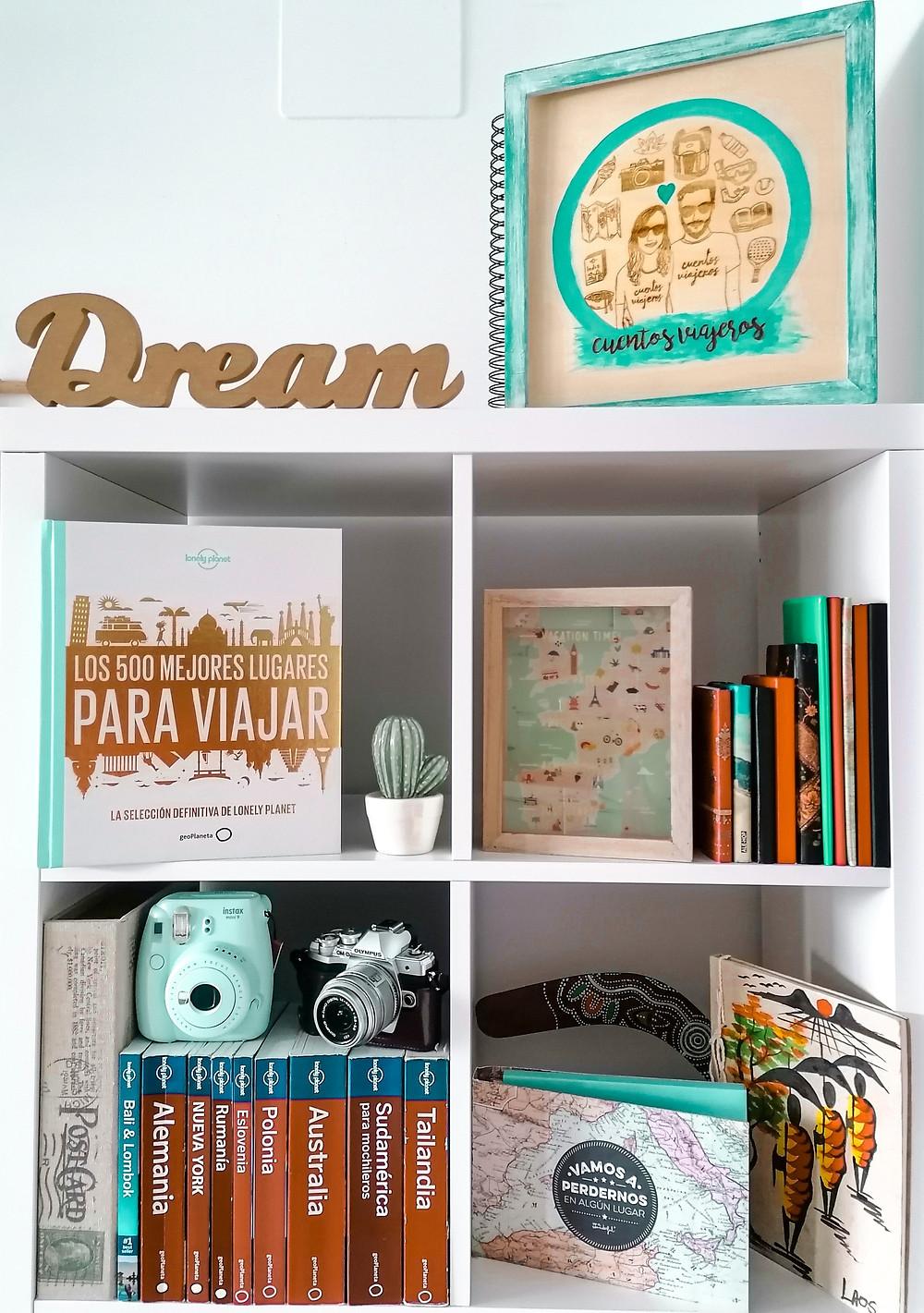 libros, viajes, viajar, guía, fotografía, estantería, rincón viajero
