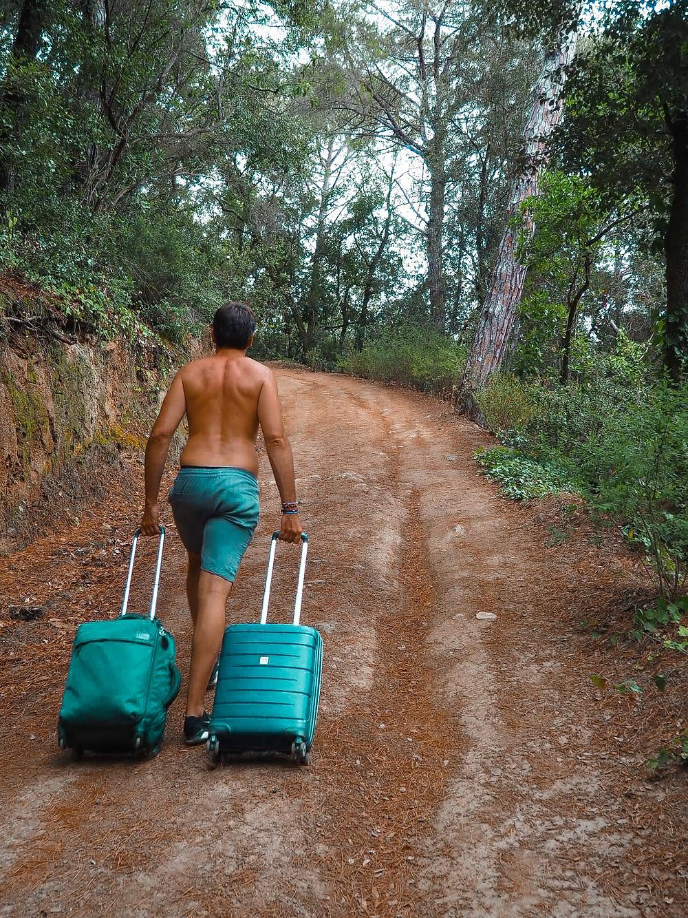 maleta, montaña, naturaleza, hombre