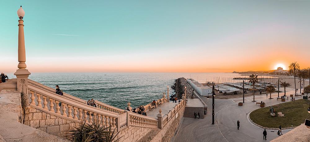 Sitges, puesta de sol, paisaje, vistas, sunset, mar, playa