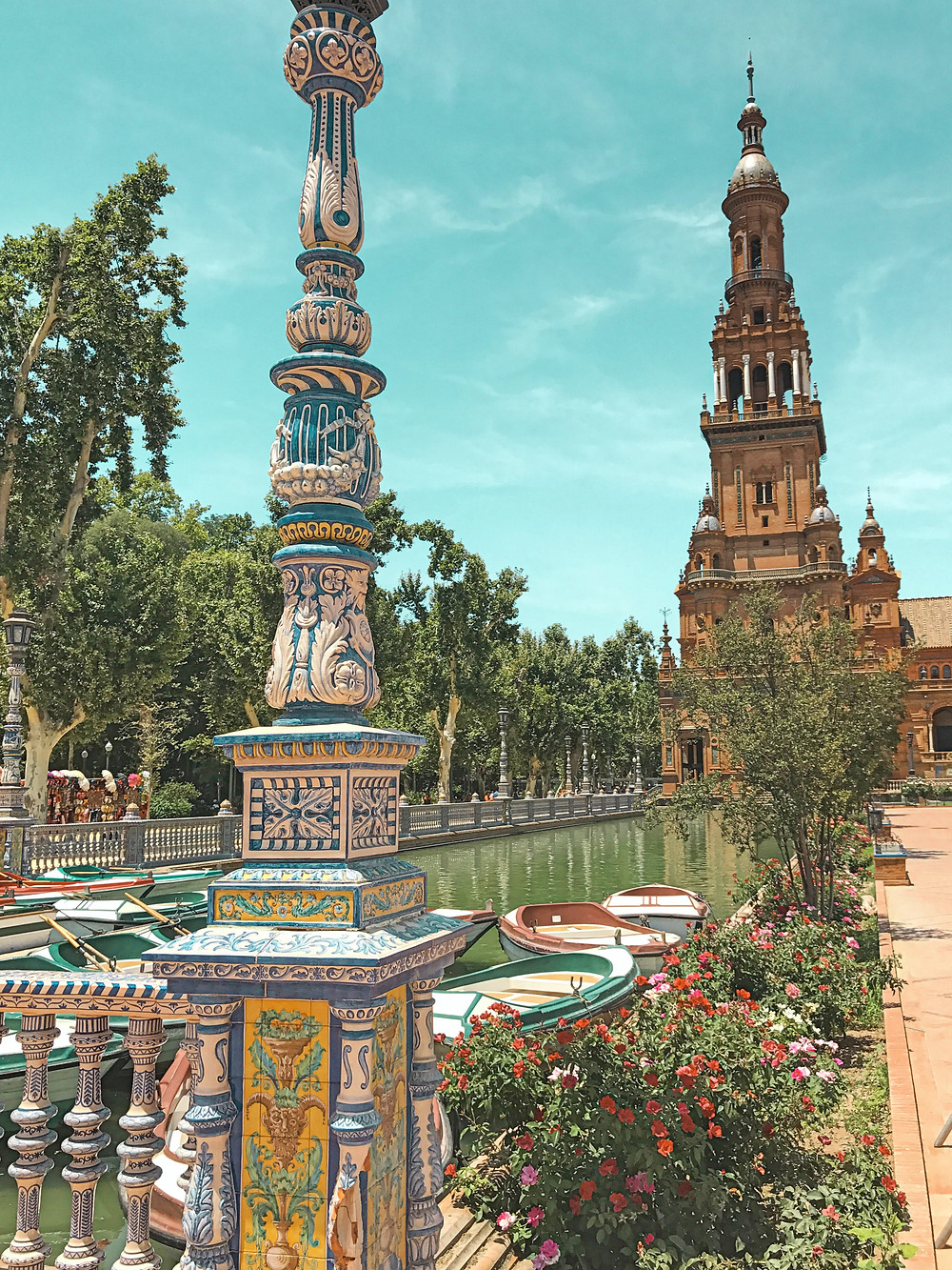 Sevilla, paisaje, colores, ciudad, río, barcas
