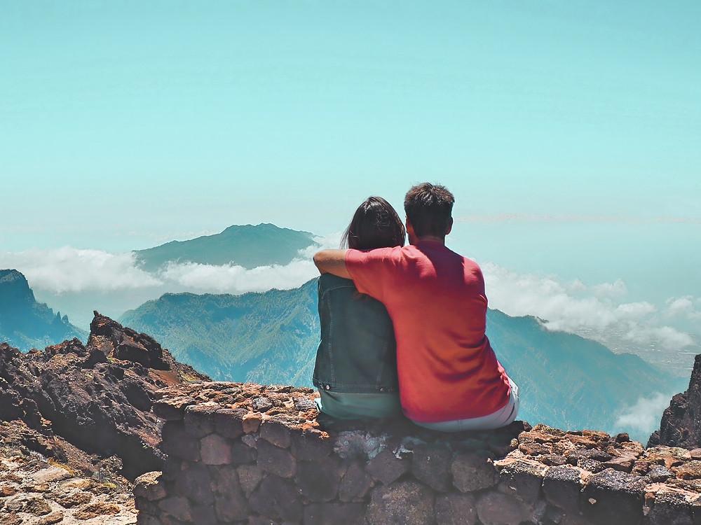 montaña, naturaleza, paisaje, nubes, pareja, La Palma, volcán