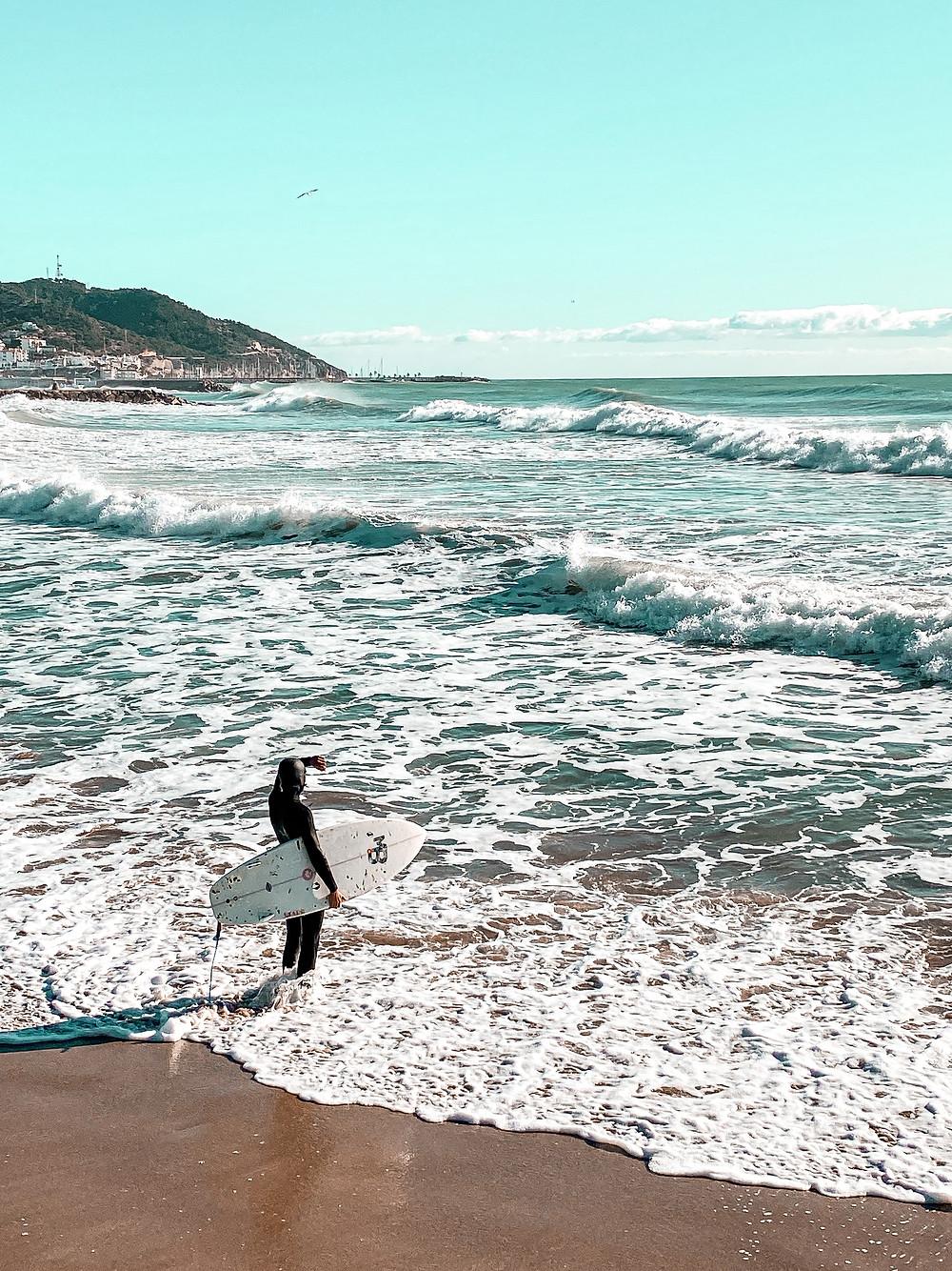 Sitges, playa, surf, paisaje, mar, relax, paz, olas