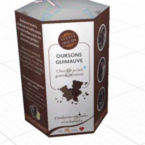 Oursons guimauve chocolat blanc, chocolat lait, chocolat noir 200gr