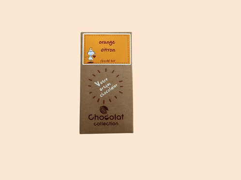 Tablette chocolat noir orange citron 70gr