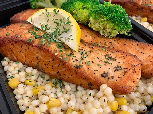 Grilled Salmon w/ Creamy Corn Couscous & Veggies