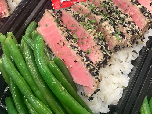 Seared Sesame Ahi Tuna w/ Soy Sauce, served on Jasmine Rice