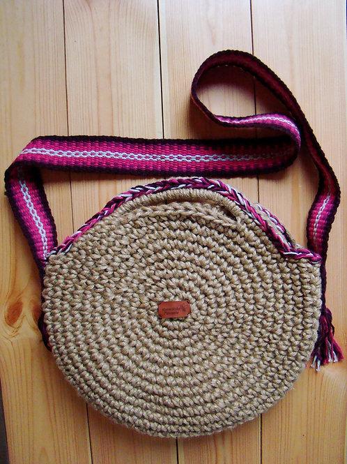 Okrągła torba ze sznurka jutowego z tkanym pasem