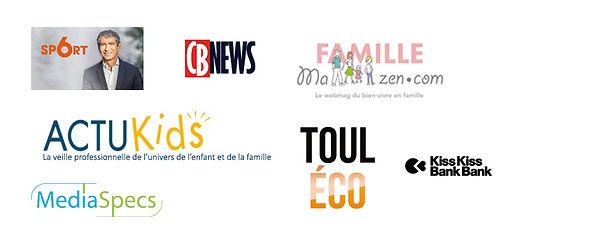 Logos des Médias qui parlent de Sporteen - M6 sport | CB News | mafamillezen | actukids | Touléco | Kisskissbankbank