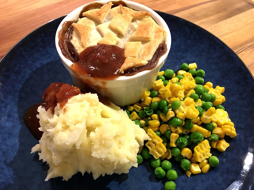 pie mashed potato peas corn