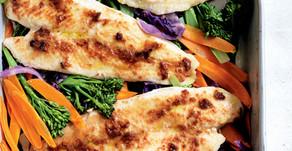 Healthy Food Guide Miso fish tray bake