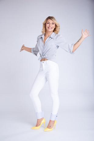 Chevillette Elyse Blanche à rayures bleues