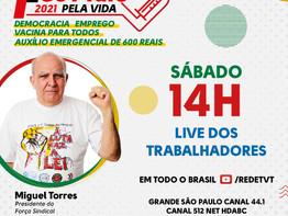 1° de Maio reivindicará auxílio de R$ 600, emprego, vacinas e respeito à democracia e aos direitos d