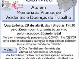 Live intersindical vai lembrar Dia em Memória das Vítimas de Acidentes do Trabalho