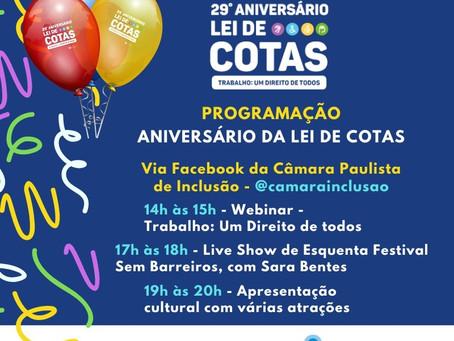 Lei de Cotas completa 29 anos com celebração virtual