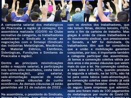 Piracicaba: Campanha Salarial 2021/22