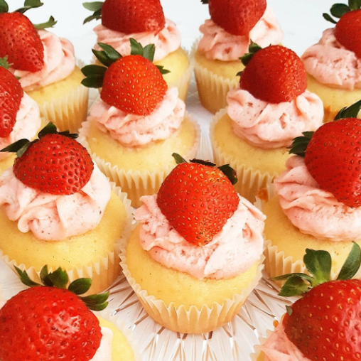 mini strawberry cupcakes