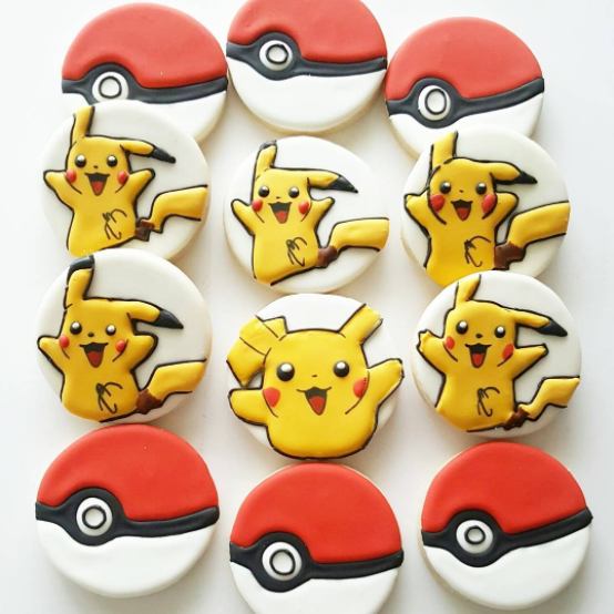 Pikachu decorated sugar cookies