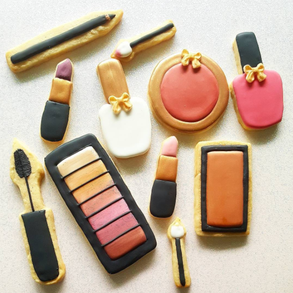 makeup theme decorated sugar cookies