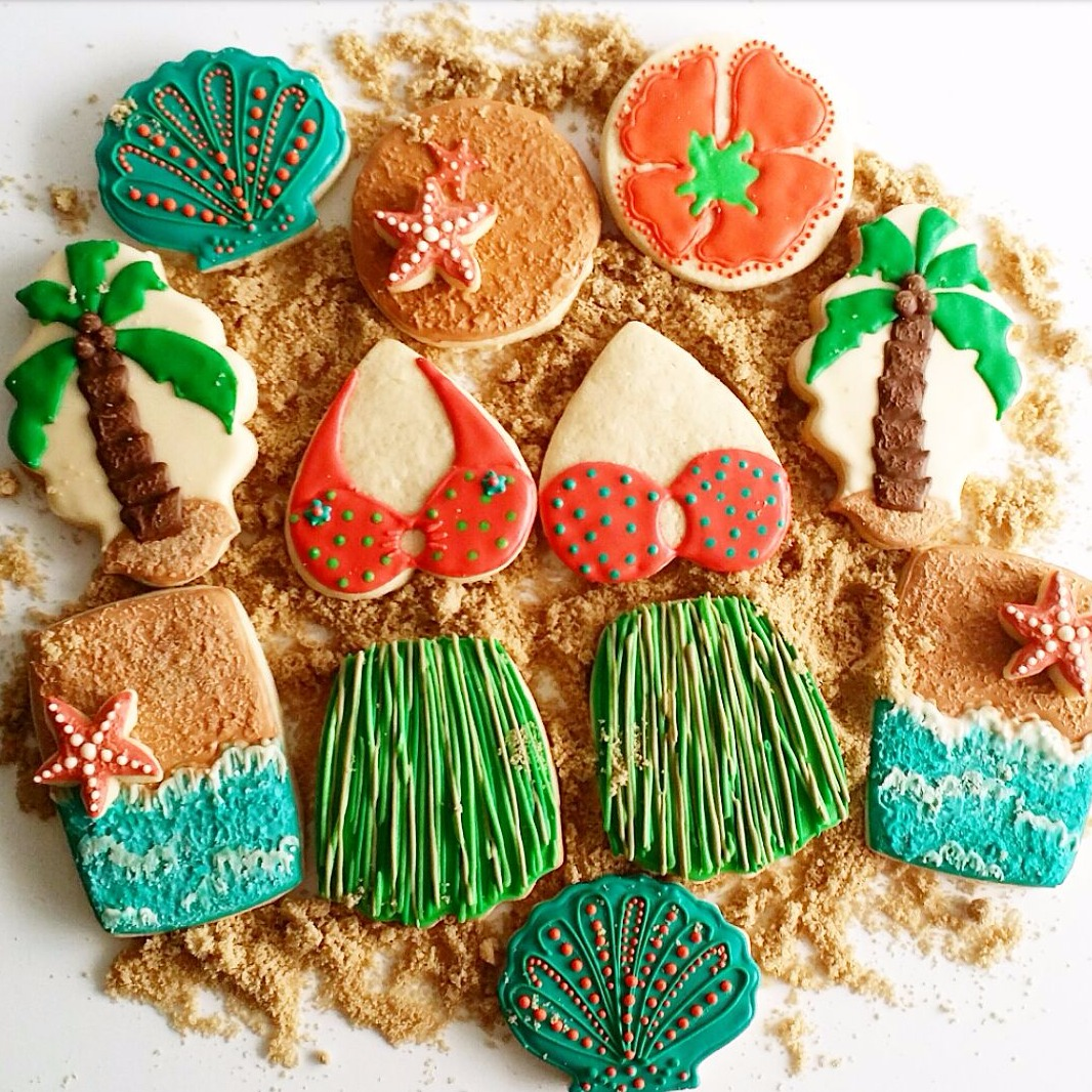Luau theme decorated sugar cookies