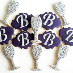 champagne and monogram cookies
