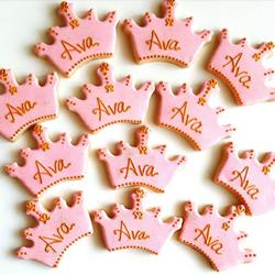 princess pink crown birthday cookies