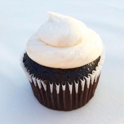 chocolate cupcake with vanilla icing