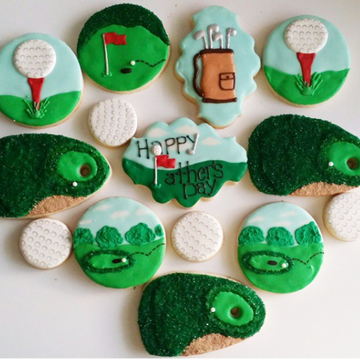 golf theme decorated sugar cookies