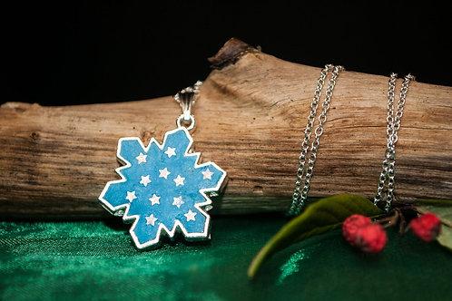 Silver handmade snowflake resin pendant