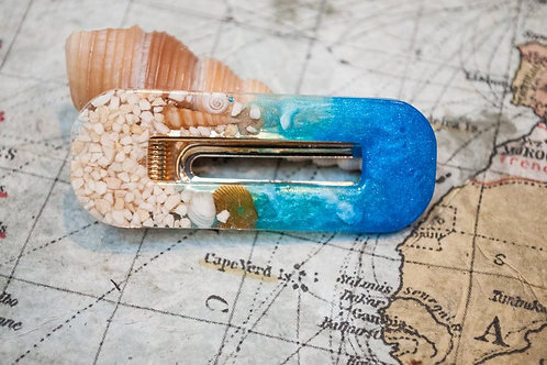 Alluring beach scene large rectangular handmade resin hair clip with real shells