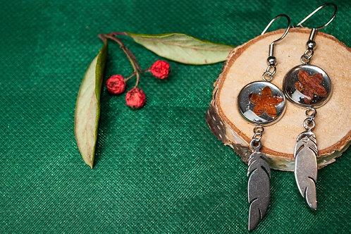 Fabulous handmade dangle feather earrings