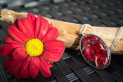 Dried Red Carnation Petals in a silver oval pendant