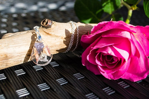 Delicate Teardrop Pendant with delphinium and blue hydrangea petals