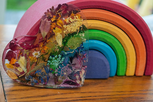 Rainbow Heart Coaster with real hand dried pressed flowers and leaves