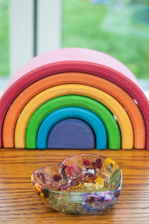 Rainbow Heart Trinket Dish with natural flowers and botanicals