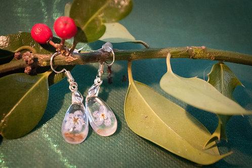 Forget me not single flower set in a teardrop solid resin dangle earrings