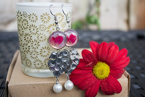 Fabulous Pink and red botanical dangle earrings